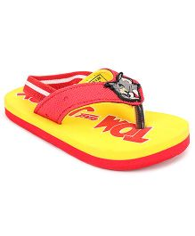 Tom and Jerry Flip Flops With Back Strap - Red And Yellow