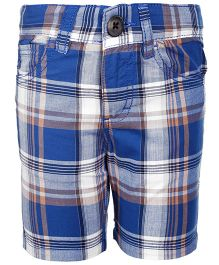 United Colors of Benetton Three Fourth Shorts Checks Print - Blue