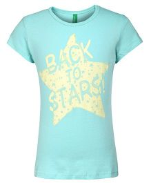 United Colors of Benetton Half Sleeve Top Star Print - Light Aqua Mariane