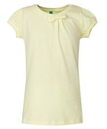 United Colors of Benetton Short Sleeves Top Bow Applique - Light Yellow