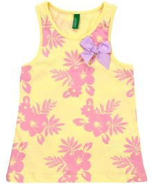 United Colors of Benetton Sleeveless Top Floral Print - Yellow