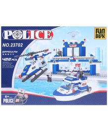 Fun Blox Police Headquarter Blocks Blue And White - 422 Pieces