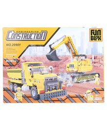 Fun Blox Construction Crane And Truck  Blocks Set Yellow - 609 Pieces