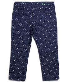 United Colors of Benetton Trouser Small White Dots Print - Navy Blue