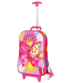 T-Bags Butterfly Design Trolley Bag Purple - 16 Inches