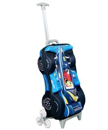 T-Bags Racing Car Design Trolley Bag Blue - 17 Inches