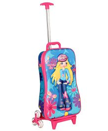 T-Bags Gorgeous Girl Design Trolley Bag Blue - 17 Inches