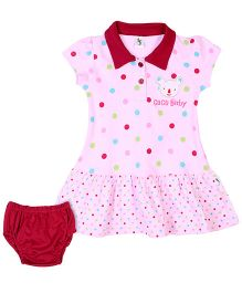 Cucumber Short Sleeves Frock With Bloomer Polka Dots - Pink