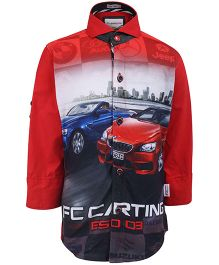 Finger Chips Casual Shirt With Car Print - Red