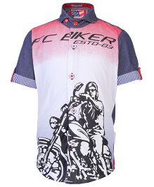Finger Chips Half Sleeves Shirt With Bike Print - Red And White