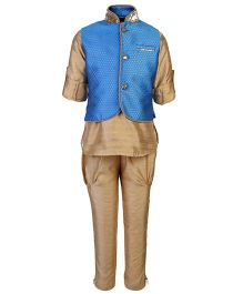 Little Bull Ethnic Kurta Pajama Jacket Set - Blue And Golden