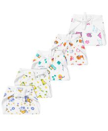 Babyhug Muslin Padded Printed Interlock Fabric Nappy Medium - Pack Of 5