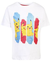 Pokemon Half Sleeves T-Shirt Pikachu Print - White