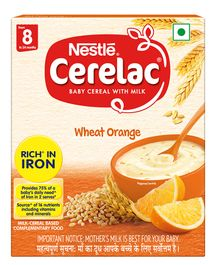 Nestle Cerelac Baby Cereal With Milk Wheat And Orange Stage 2 - 300 grams