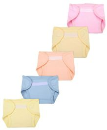 Babyhug Interlock Fabric Velcro Closure Nappy Small - Pack Of 5