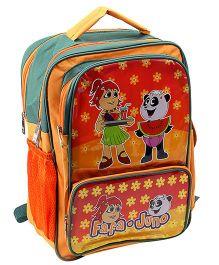 Fafa n Juno School Bag Orange And Green - 16 Inch