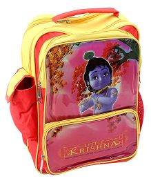 Little Krishna School Bag Red And Yellow - 16 Inch