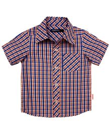 Campana Half Sleeves Shirt Check Print - Blue And Orange
