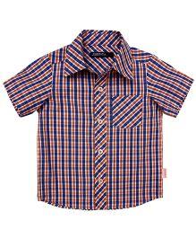 Campana Half Sleeves Shirt Check Print - Blue And Orange