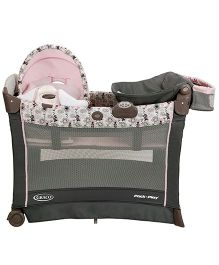 Graco Pack n Play Playard With Cuddle Cover Premiere Rocking Seat - Minnie's Garden