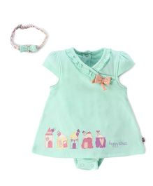 FS Mini Klub Short Sleeves Fock With Attached Bloomer And Head Band - Green