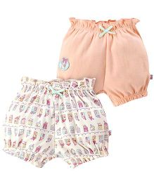 FS Mini Klub Shorts Elasticated Waist Pack Of 2 - Peach And Off White