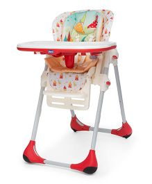 Chicco Polly 2 In 1 High Chair Timeless - Red And White