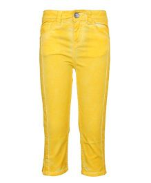 Tales & Stories Washed Effect Capri  - Yellow