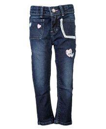 Tales & Stories Heart Embellished Denim Jeans - Dark Blue
