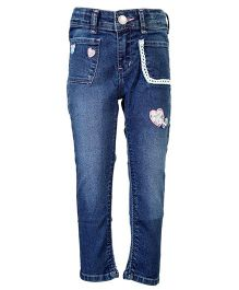 Tales & Stories Heart Embellished Denim Jeans - Light Blue