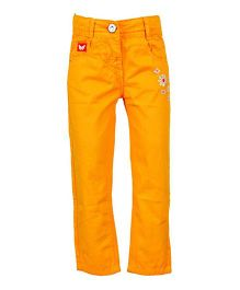 Tales & Stories Floral Embroidery Trouser - Orange