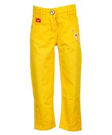 Tales & Stories Floral Embroidery Trouser - Yellow