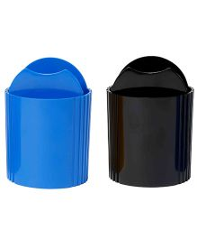 Oddy High Quality Plastic Tumbler Black And Blue - Set Of 2