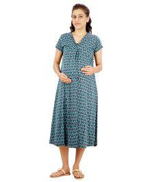 Uzazi Quarter Length Nighty Short Sleeves - Blue
