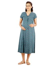 Uzazi Quarter Length Nighty Short Sleeves - Blue
