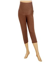 Uzazi Maternity Capri Leggings - Coffee Melange