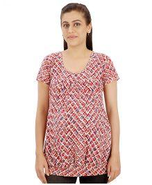 Uzazi Maternity Nursing Top Short Sleeves - Maroon