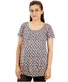 Uzazi Maternity Nursing Top Short Sleeves - Bluish Grey
