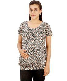 Uzazi Maternity Nursing Top Short Sleeves - Grey