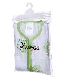 Kaarpas Premium Organic Cotton Muslin Sleeping Bag pack of 1 Green Leaf