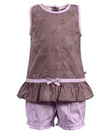 ShopperTree Sleeveless Floral Print Top And Short Set - Purple