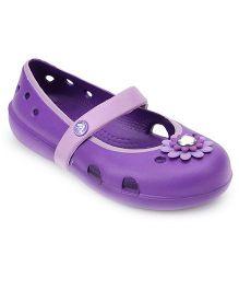 Crocs Clog With Floral Applique - Purple