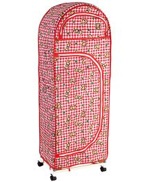 New Natraj Jumbo Toy Box With Wheels Checks Print - Red