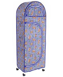 New Natraj Jumbo Toy Box With Wheels Checks Print - Dark Blue
