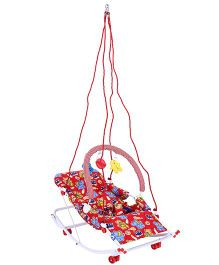 New Natraj Rocko Swing With Play Toys Animals Print - Red