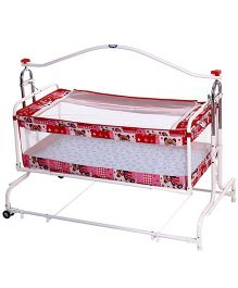 New Natraj Compact Cradle With Mosquito Net Teddy Print - Red
