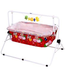 New Natraj Comfy Cradle With Play Toys Teddy Bear Print - Red