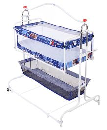 New Natraj Compact Cradle Cum Bassinet With Storage Basket Teddy Print - Blue