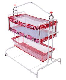 New Natraj Compact Cradle Cum Bassinet With Storage Basket Teddy Print - Red