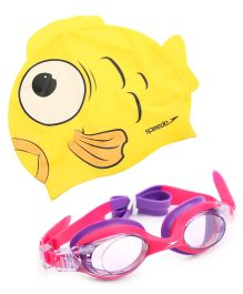 Speedo Sea Squad Goggle And Cap Combo Pack - Pink And Yellow